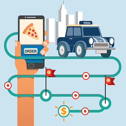 A restaurant delivery vehicle following a map with multiple delivery locations on it. All leading to a mobile phone.