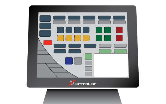 A SpeedLine POS terminal showing the home screen