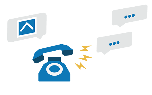 A  blue phone ringing