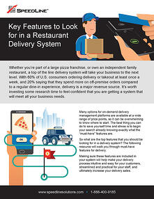The first page of the Key Features to look for in a Restaurant Delivery System guide
