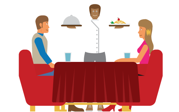 A server delivering to a table at a nice restaurant