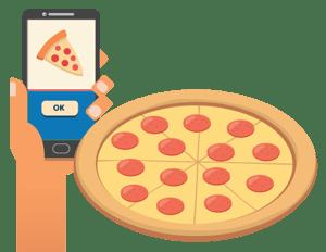 A phone help up beside a pizza