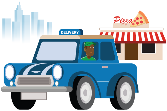 A man driving a delivery vehicle away from a restaurant