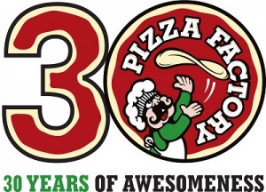 30 Years of Awesome Pizza Factory Logo