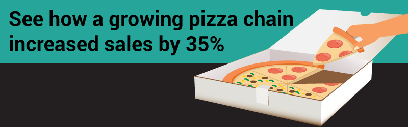 See how a growing pizza chain increased sales by 35%, a pizza slice being taken out of a box