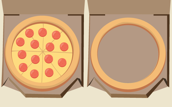 A pizza in a box sitting next to a Nothing But Stuffed Crust ring.