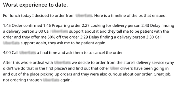 Reddit - Late Pizza Delivery Times
