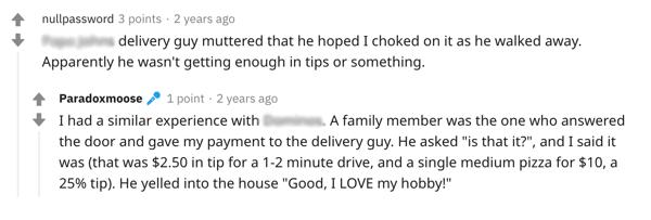 Reddit Delivery Drive Rudeness
