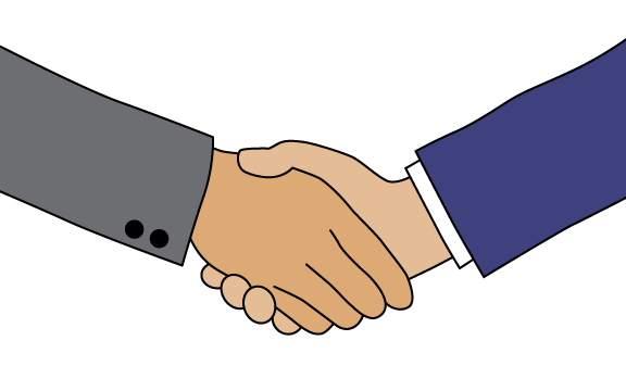Two people shaking hands to symbolize a partnership