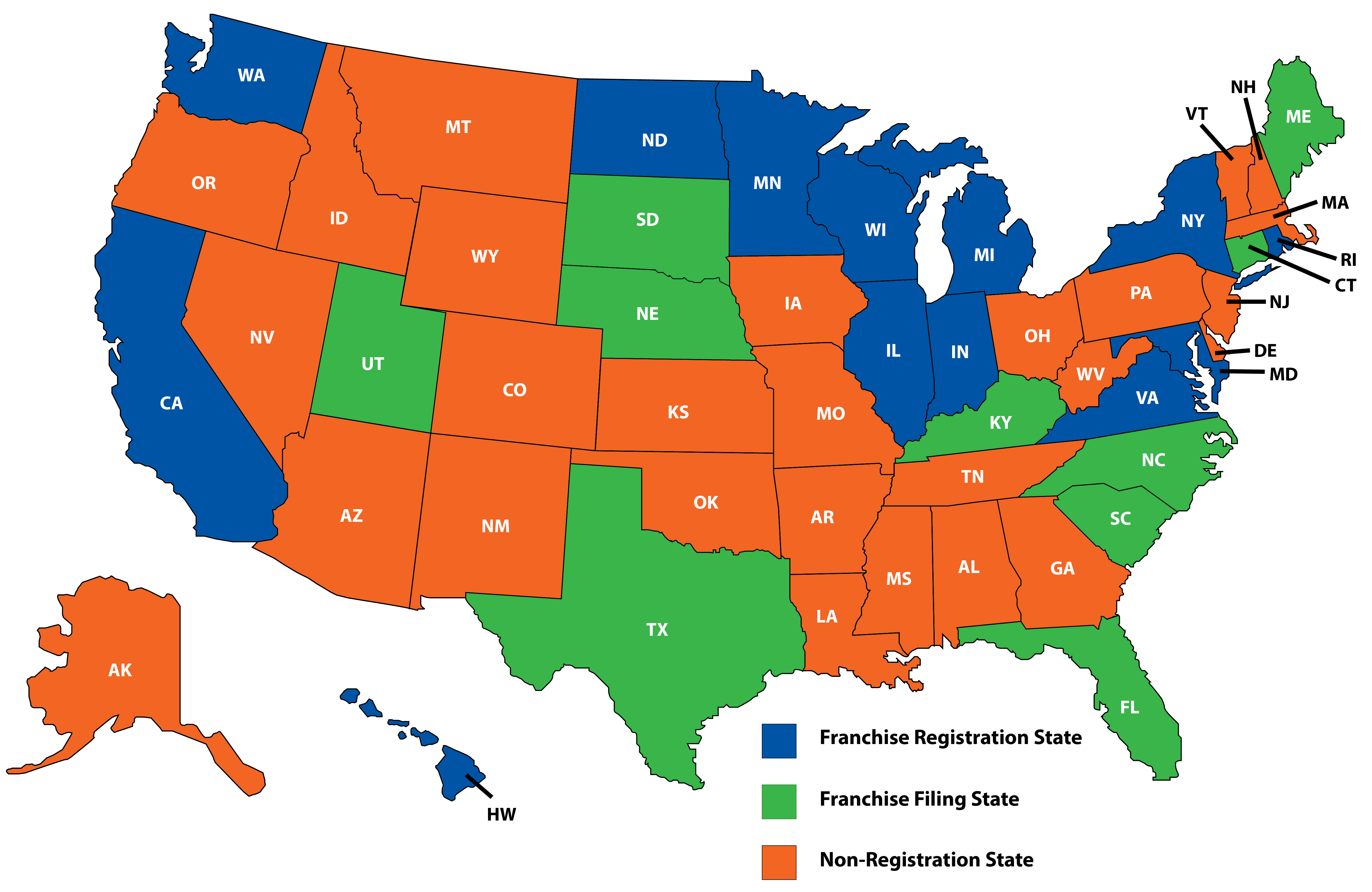 U.S. map showing the franchising category for each state