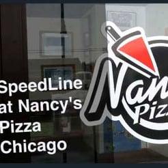 Nancy's Pizza logo on their door