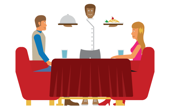 A waiter delivers food to a couple seated at a table with a red table cloth.