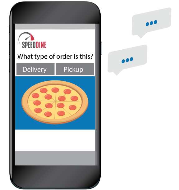 A phone showing the online ordering site, with comment bubbles to the side.