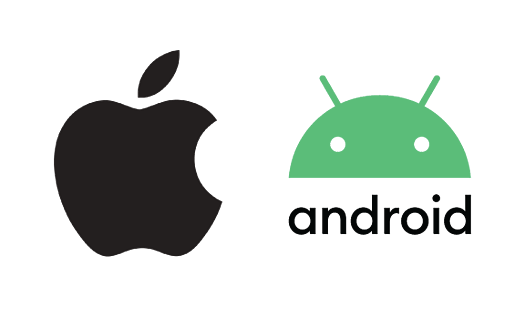 Apple and Android logos to illustrate the SpeedDine App