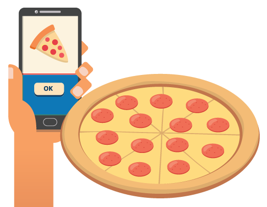 Mobile phone displaying an online ordering site, beside a pizza.