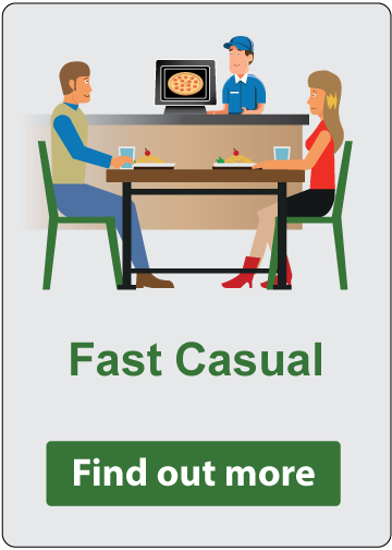 Fast Casual - Find out more. Two customers seated at a fast casual restaurant.