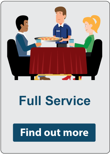 Full Service - Find out more. Two customers seated at a table as a waiter serves their food.