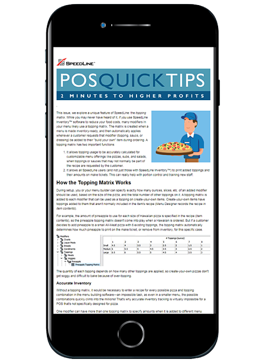 POS Quick Tips news letter example show on an iPhone.