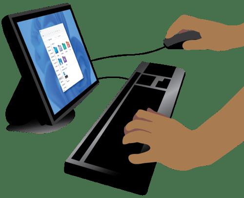 A SpeedLine support tech working at a computer