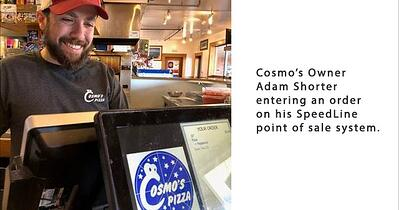 Adam shorter entering an order on Cosmo's new POS system