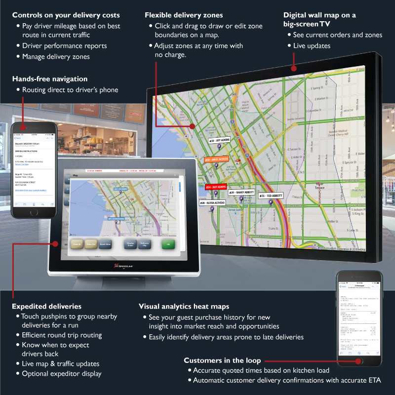 LiveMaps delivery features for SpeedLine POS