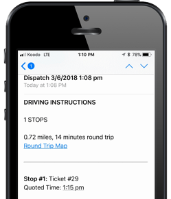 Delivery driving instructions shown on an iPhone