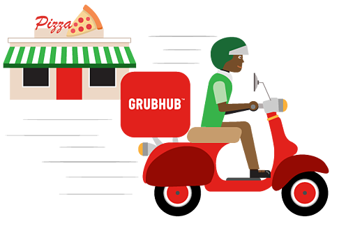7. Third-party delivery driver arrives to pick up food.