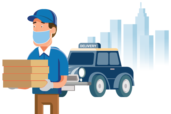 A delivery driver with a mask and gloves delivering pizza