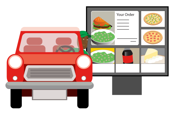 A red cartoon car driving up to and ordering at a drive-thru display outside a restaurant