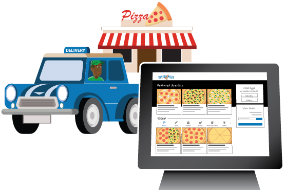An online ordering site shown in front of a pizzeria with a delivery car