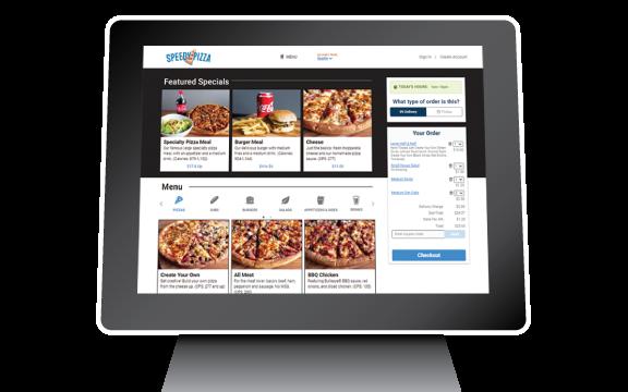 An online ordering site shown on a desktop computer