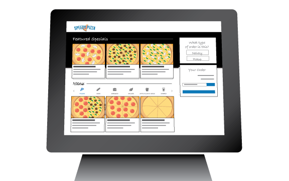 An online ordering site for pizza places
