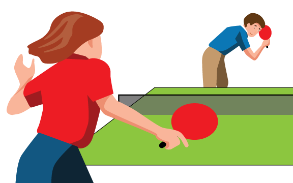 Two SpeedLine team members playing table-tennis