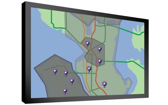 A monitor showing delivery zones for the restaurant, and pins showing the delivery order addresses
