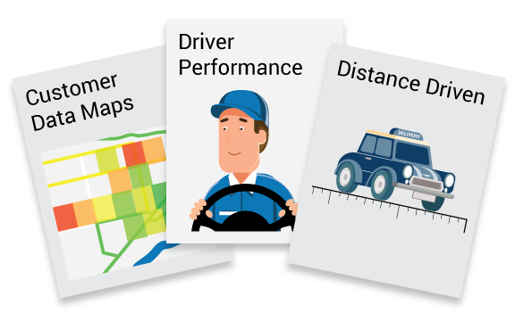 Customer data maps, driver performance and distance driven reports