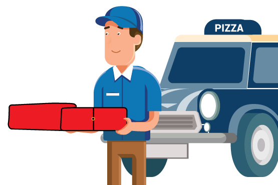 A pizza delivery employee holding a pizza box and walking away from his vehicle